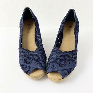 White Mountain Shoes - White Mountain Womens Shoes Navy Fabric Wedge Heel